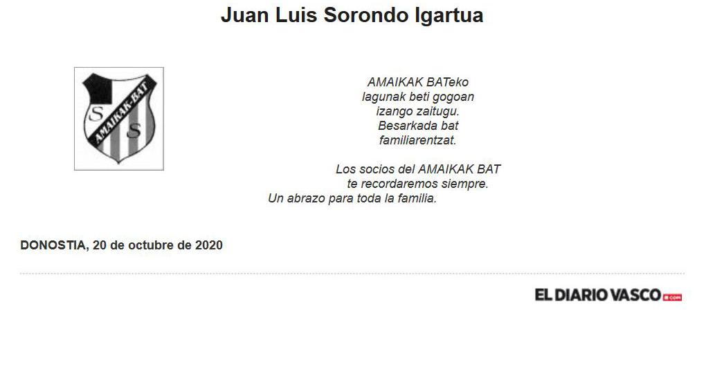 20/10/2020 # Ha fallecido el socio Juan Luis Sorondo